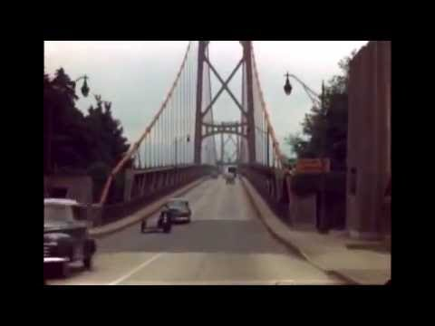 Colour home movie of driving over Lion's Gate Bridge in circa 1947