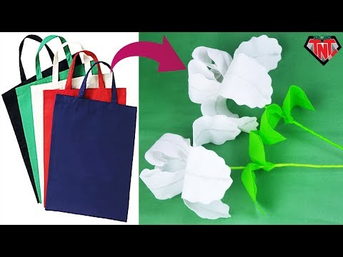 How to make origami flowers from shopping bags | DIY Iris Flower | Best out of waste home decoration