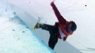 JO 2018 : Ski acrobatique - Halfpipe Hommes. L'énorme chute de Kevin Rolland à PyongChang
