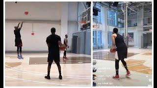 Ray Allen trying to teach Jabari Parker the art of shooting