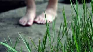 Binaural ASMR Sound Slice: Walking In Heels, Sneakers, And Bare Feet  On Pavement and Grass