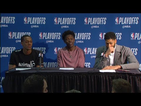 AD, Jrue Holiday & Rondo Postgame Interview   Blazers vs Pelicans - Game 4   2018 NBA Playoffs