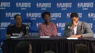 AD, Jrue Holiday & Rondo Postgame Interview | Blazers vs Pelicans - Game 4 | 2018 NBA Playoffs