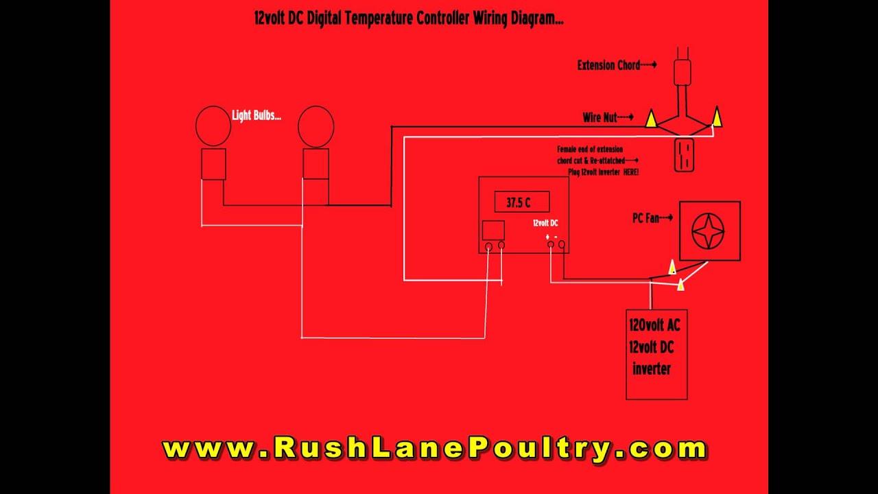 W1209 (12volt) DC Digital Temp Controller Wiring Diagram
