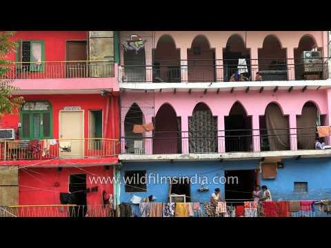 Colourful buildings in New Delhi: Hauz Khas village