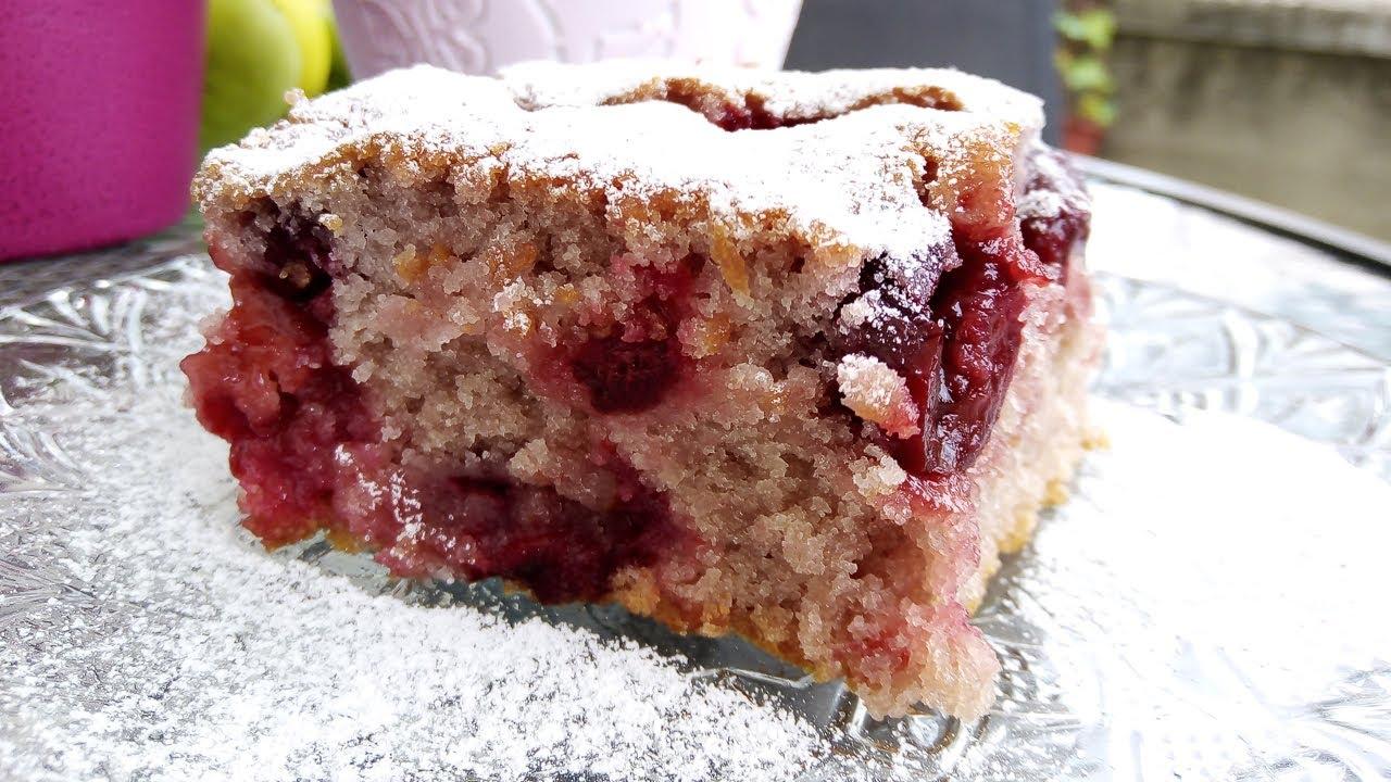 Jeftin voćni kolač -  kolač sa višnjama - lako - posno