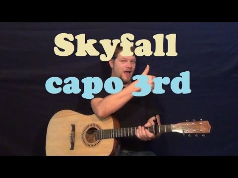 Skyfall (Adele) Guitar Lesson Easy Strum Chords How to Play Skyfall Tutorial