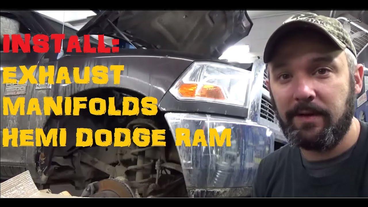 Installing Exhaust Manifolds Hemi Dodge Ram Youtube