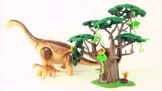 Playmobil Brachiosaurus and baby - Playmobil dinosaurs - toy dinosaur and tree play set for kids