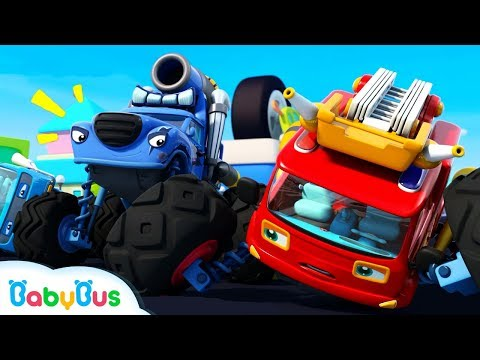 Fire Truck Vs Trouble Maker | Monster Car Race | Car Videos | Nursery Rhymes | Kids Songs | BabyBus