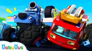 Fire Truck Vs Trouble Maker | Monster Car Race | Car Videos | Nursery Rhymes | Kids Songs | BabyBus