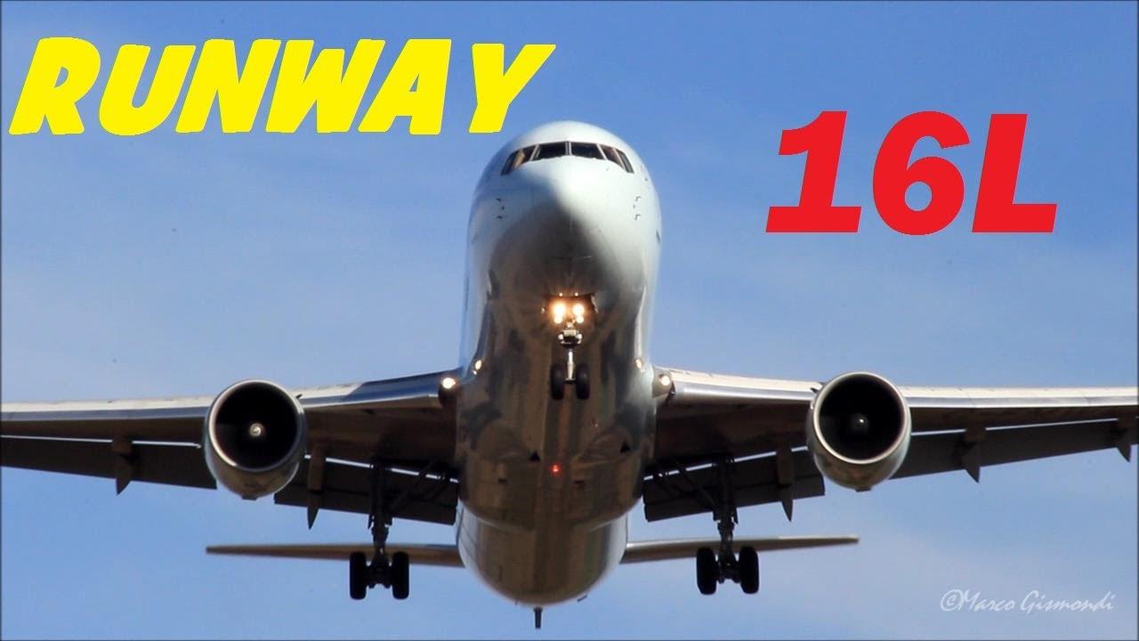 Rome Fiumicino Airport - early morning landings runway 16L ...