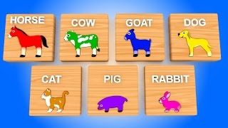 Learn Colors for Children with Farm Animals Wooden Toys Train For Kids Toddlers Educational Videos