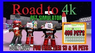 Road to 4k - Pet Simulator only stream! GIVING AWAY 400 TIER 13 & 14 PETS! Roblox Live - Join now!