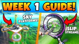 Fortnite WEEK 1 CHALLENGES SEASON 9! - Sky Platforms, Slip Stream Locations (Battle Royale Guide) thumbnail