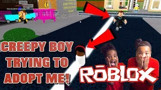 CREEPY BOY FOLLOWING ME AUF ROBLOX! ( ADOPT A BABY)