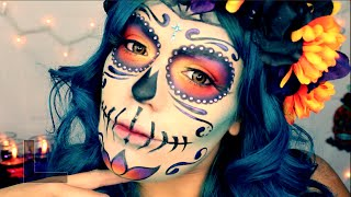 """Day Of The Dead"" Mexican Sugar Skull Makeup Tutorial Halloween 