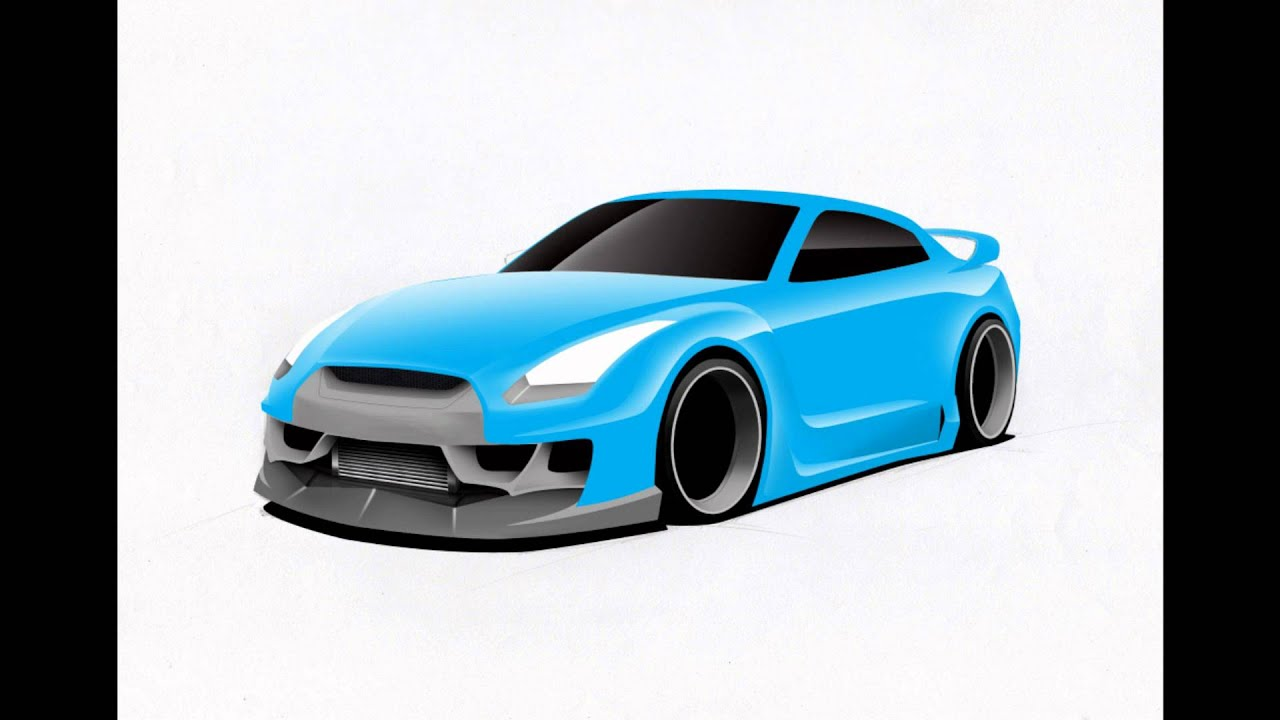 Nissan GTR Drawing & Rendering by Sofiane TOUATI - YouTube