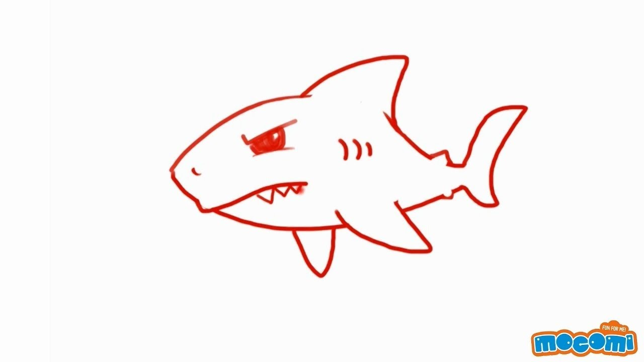 How To Draw A Shark Step By Step Drawing For Kids Educational Videos By Mocomi Youtube