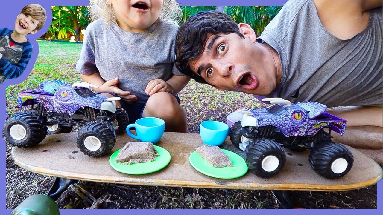 Axel Show Monster Trucks Pretend Play Tea Party Youtube