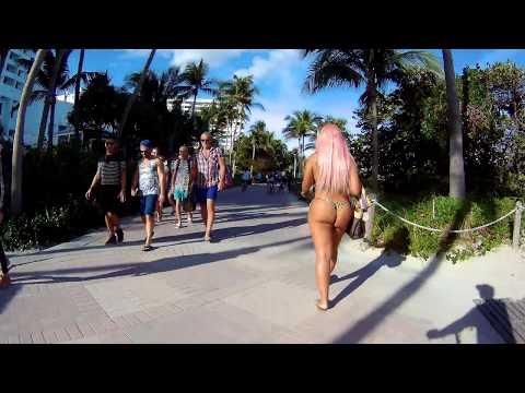 Spectacular South Beach Walk, HD Action Camera on Bike Rental, Miami Beach, Florida