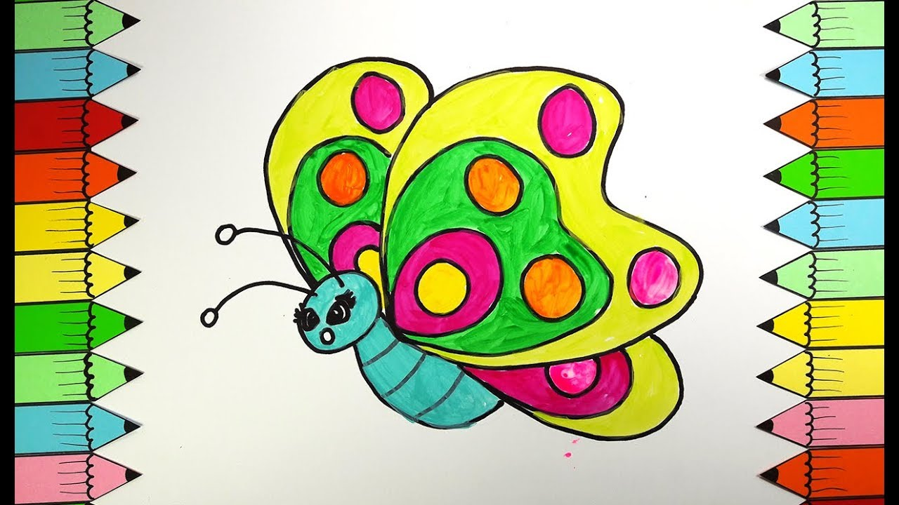 Butterfly Coloring Book, How to Draw Rainbow Butterfly Drawing ...