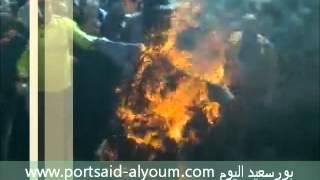 الداخلية فى بورسعيد - حرق العلم والدميه الاسرائيليه