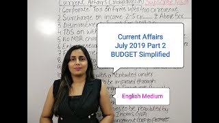 July 2019 GK Current Affairs in English - II Union Budget for IBPS amp SSC Exams