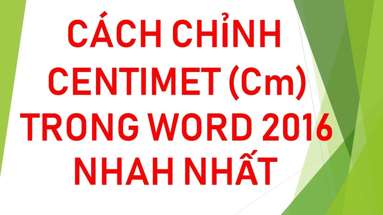 Đổi inches sang centimet trong word 2016