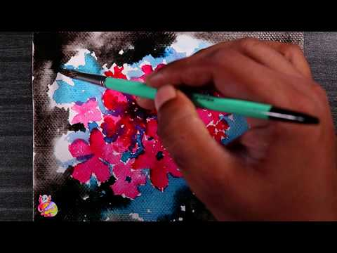 How to draw easy flowers painting step by step | Flower painting tutorial for beginners watercolor