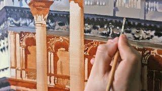 Уроки живописи. Венеция. Лепнина на здании. Timelapse. Часть 7.