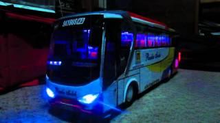 Miniatur bus rosalia indah, strobo and telolet