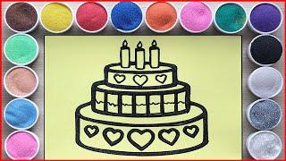 TÔ MÀU TRANH CÁT BÁNH SINH NHẬT HẠNH PHÚC TRÁI TIM - SAND PAINTING HAPPY BIRTHDAY CAKE (Chim Xinh)