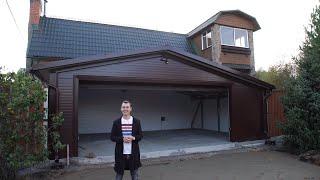Обзор гаража на две машины шириной 8 метров.