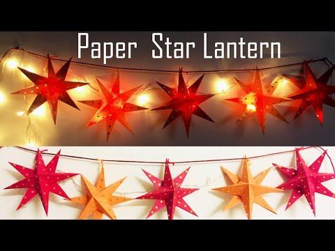 Hanging Lantern | Paper Star Lantern Diy | Christmas Decoration Ideas  | Hanging Paper Star Lanterns
