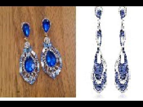 BLUE SAPPHIRE DANGLING EARRINGS DESIGNS || trendy dangling stone earrings