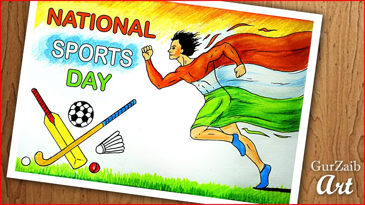 national sports day drawing poster making on sports day india step by step
