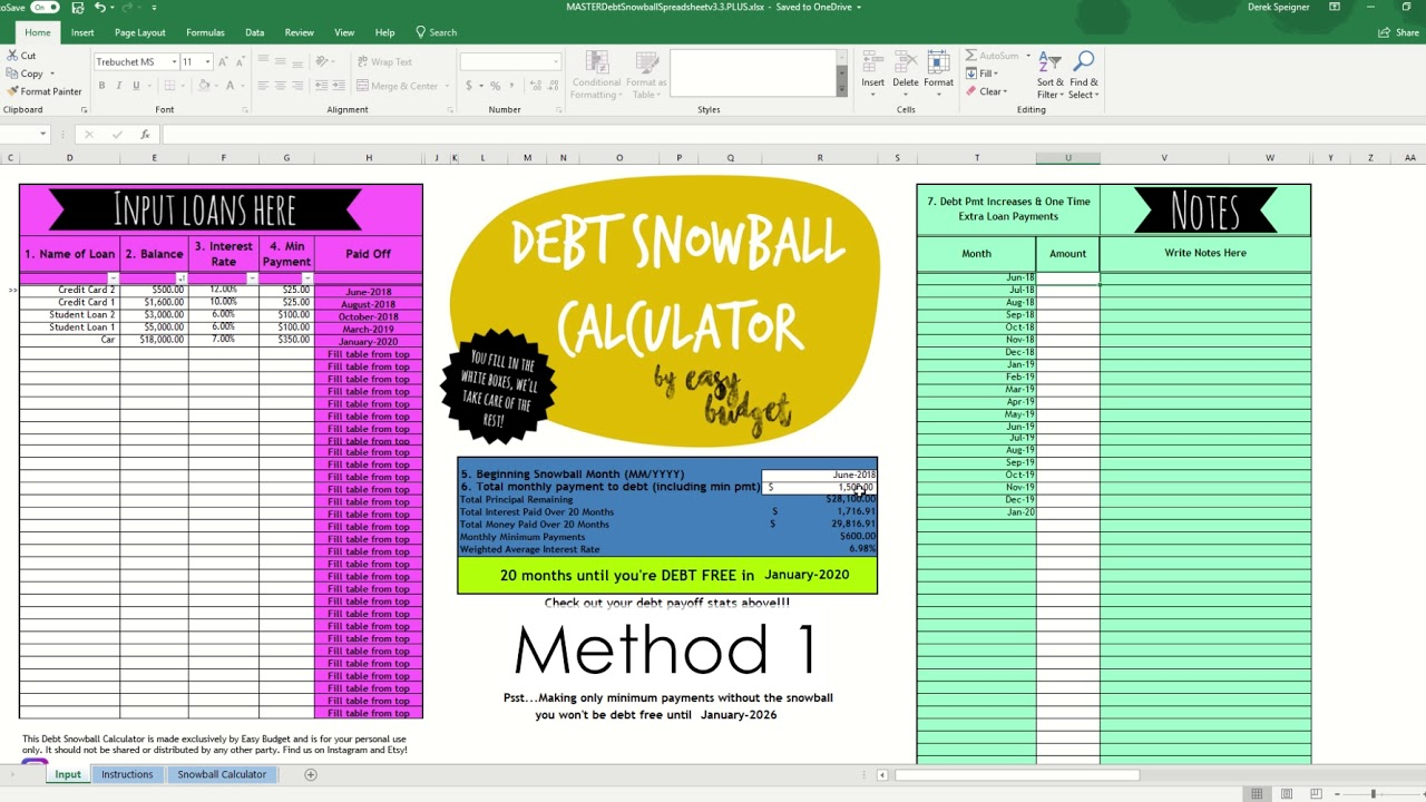 How to Set Up Your Debt Snowball Calculator | Easy Budget