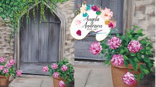 """Rustic Door with Ivy and Flowerpots"" - Beginner Series #7 Acrylic Painting Tutorial"