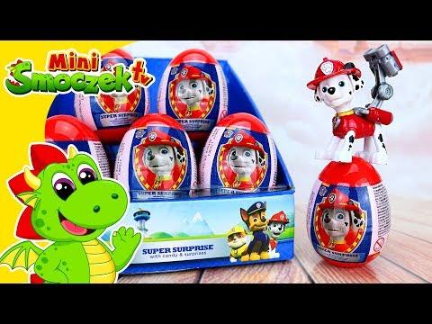 Psi Patrol - Marshall i DUŻO Jajek!!! Niespodzianki Zabawki Bajki Dla Dzieci Po Polsku