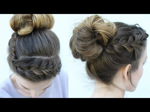 Messy Bun and Braided Headband style