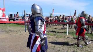 Armored knights from the USA Team fight at Medieval Rush