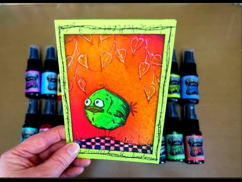Card with Dylusions Shimmer Sprays!!