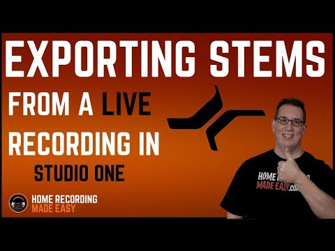 Presonus Studio One - How to Export Stems From a LIVE Recording