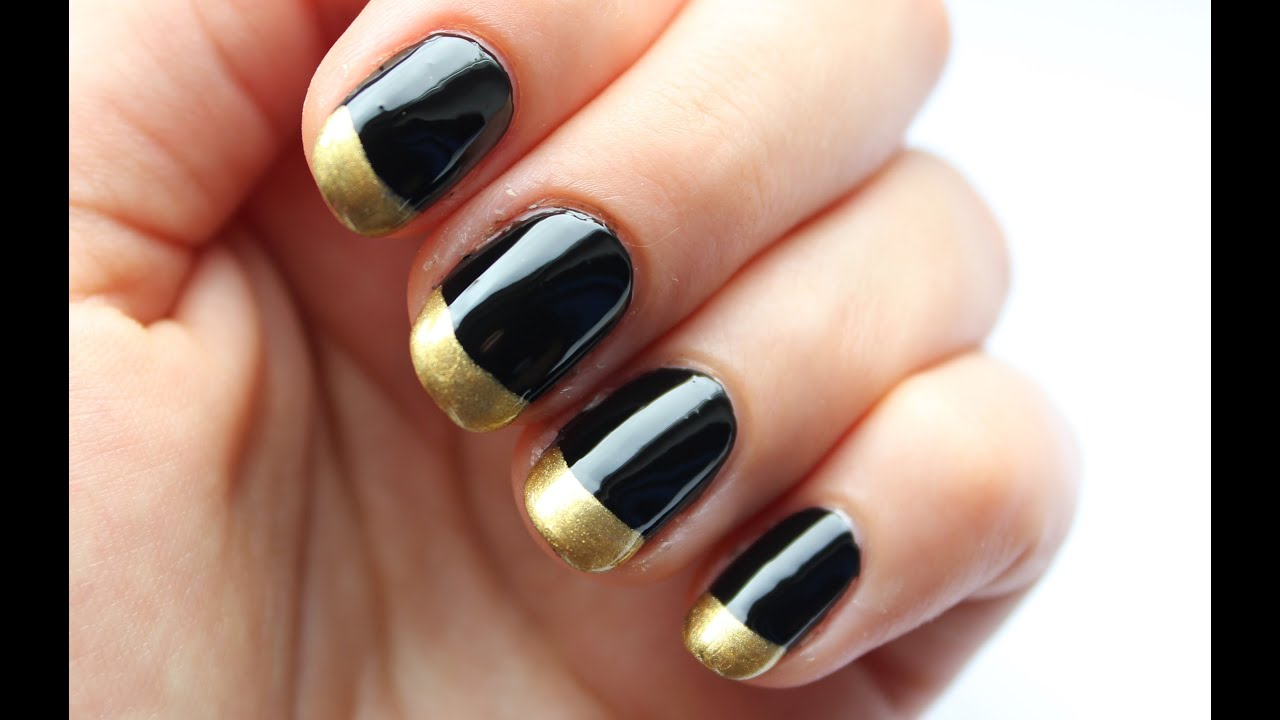 Easy Nail Art For Beginners! Black & Gold French Manicure - YouTube