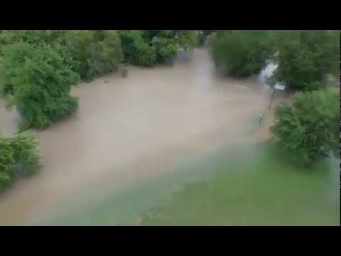 Drone view of flooded park in Temple, Texas