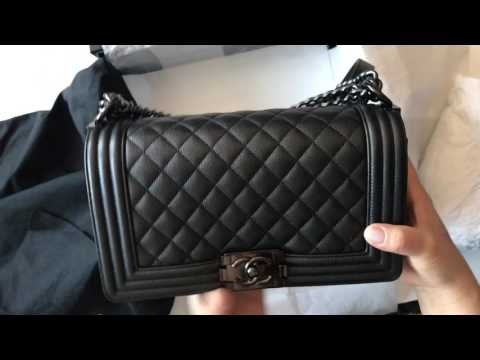 Unboxing and review Chanel SO BLACK Boy Bag old medium black lambskin caviar