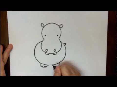 How To Draw A Hippopotamus Step By Hippo Drawing For