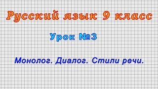 Русский язык 9 класс (Урок№3 - Монолог. Диалог. Стили речи.)