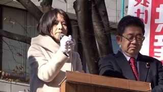 いよいよ明日が投票日。13日午前、京王線府中駅前で小池晃党副委員長・...